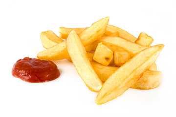 Pile of french fries and ketchup