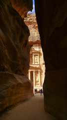 Canyon in Petra, Jordan. In the background Treasury view.
