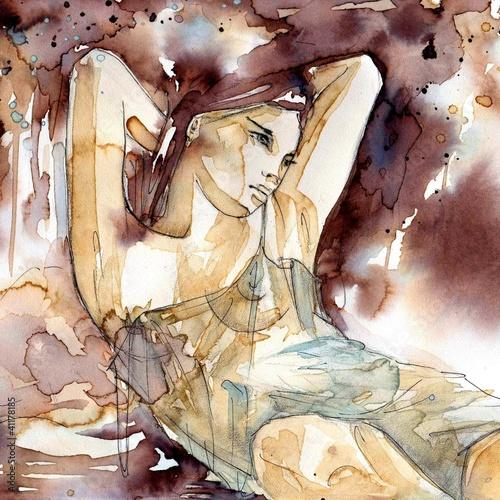 lezaca-kobiety-w-seksownej-pozycji-akwarela