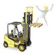 Leinwanddruck Bild - Abstract white man falling from lift truck fork