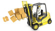 Overloaded yellow fork lift truck falling forward