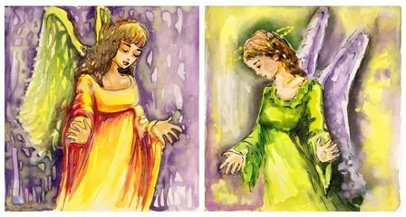 dwa obrazy aniołów