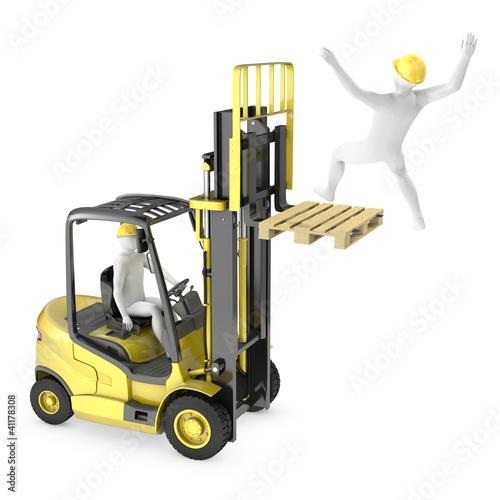 Leinwanddruck Bild Abstract white man falling from lift truck fork