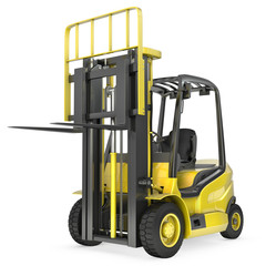 Yellow fork lift truck with raised fork, front view