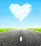 Fototapety road and cloudy heart in sky