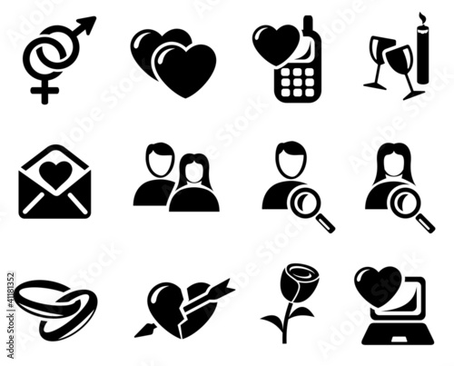 Love and dating icon set