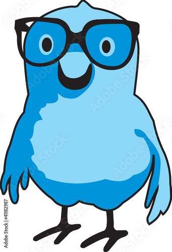 "A blue bird (""Bluebert"") with glasses"