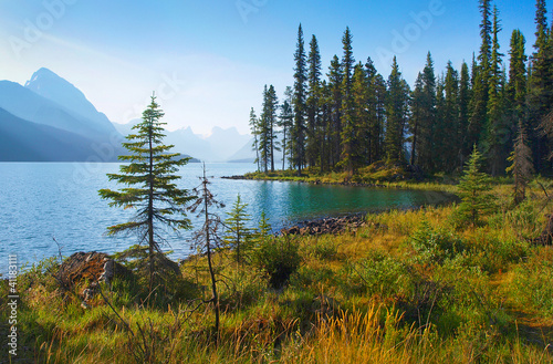 Nature landscape with mountain lake at dawn in Alberta, Canada