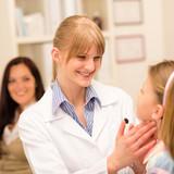 Pediatrician examine child throat cold prevention poster