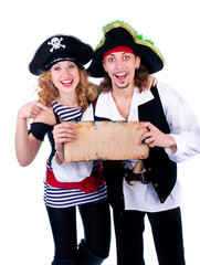two pirate man and a woman holding a map in his hands