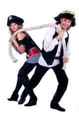 two pirates in a man and a woman pulling a rope