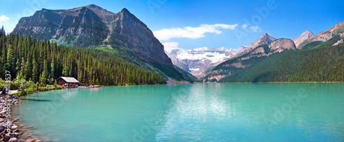 Lake Louise mountain lake panorama in Alberta, Canada