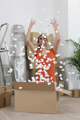 Woman throwing polystyrene