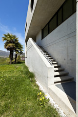 beautiful modern house in cement, outdoor, staircase.