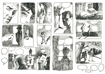 DEVISED COMIX STORYBOARD. Pictures on the classic comix theme.