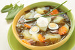 Spring soup with sorrel, potatoes and egg