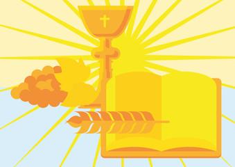 Bibel mit Kelch und Ähre