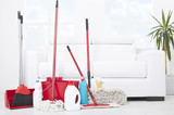 Collection of cleaning products and tools in living room
