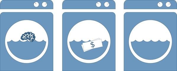 Washing machine / Brain and money wash (Vectors)