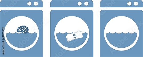 Washing machine / Brain and money wash (Vectors)