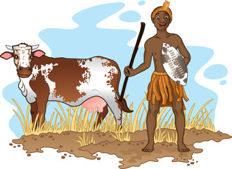 Young African Zulu man in traditional dress  with nguni cow.