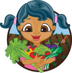 Happy girl holding home grown vegetables