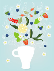 Decorative vector illustration with cup of tea, tea leaves, berr