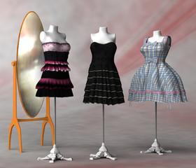 Spiegel und drei Kleiderständer mit verschiedenen Kleidern