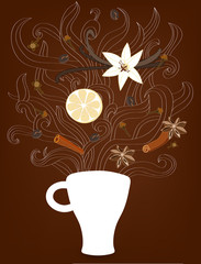 Decorative vector illustration with cup of coffee, steam and spi