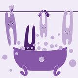 Bunnies in bathroom