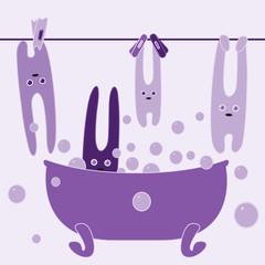Bunnies in bathroom