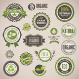Fototapety Set of organic badges and labels