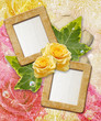 Grunge frames with yellow rose and paper