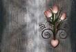 Vintage tulips  and swirl on rusty grunge metal
