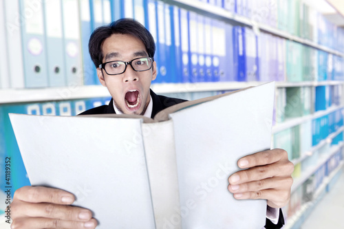 Shocked young businessman