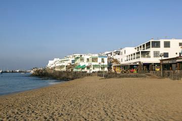 promenade of scenic Playa Blanca with seaside