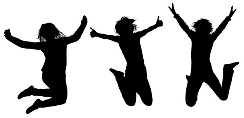 Silhouettes of girls in a jump