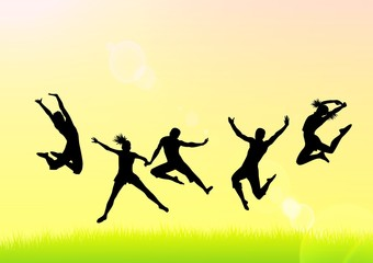 Silhouettes of men and girls in a jump on a bright background