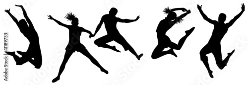 Silhouettes of men and girls in a jump