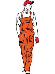 sketch a worker is dressed in orange combination
