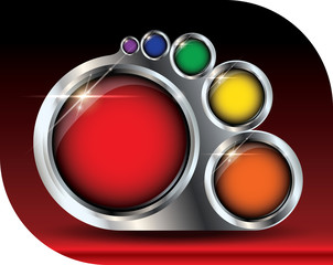 Metallic paint palette vector template - buttons copyspace