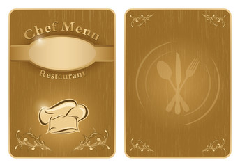 Chef menu cover or board - vector