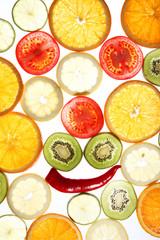 Obst Scheiben mit Gesicht