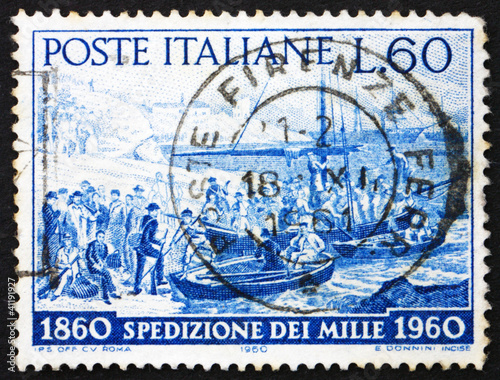Postage stamp Italy 1960 Volunteers embarking, Quarto, Genoa