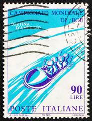 Postage stamp Italy 1966 Four-Man Bobsled