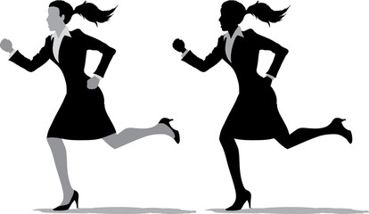 2 different version of a business woman running