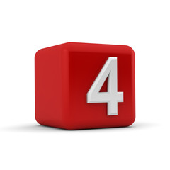 Red 3D block with number four