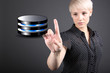 Database concept - business woman touching screen