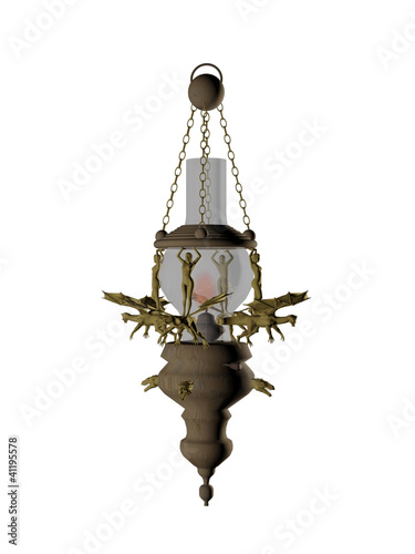 Old lamp in 3d over a white background.