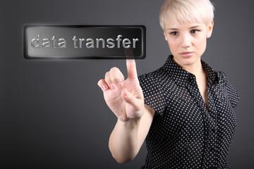 Data transfer concept - business woman touching screen